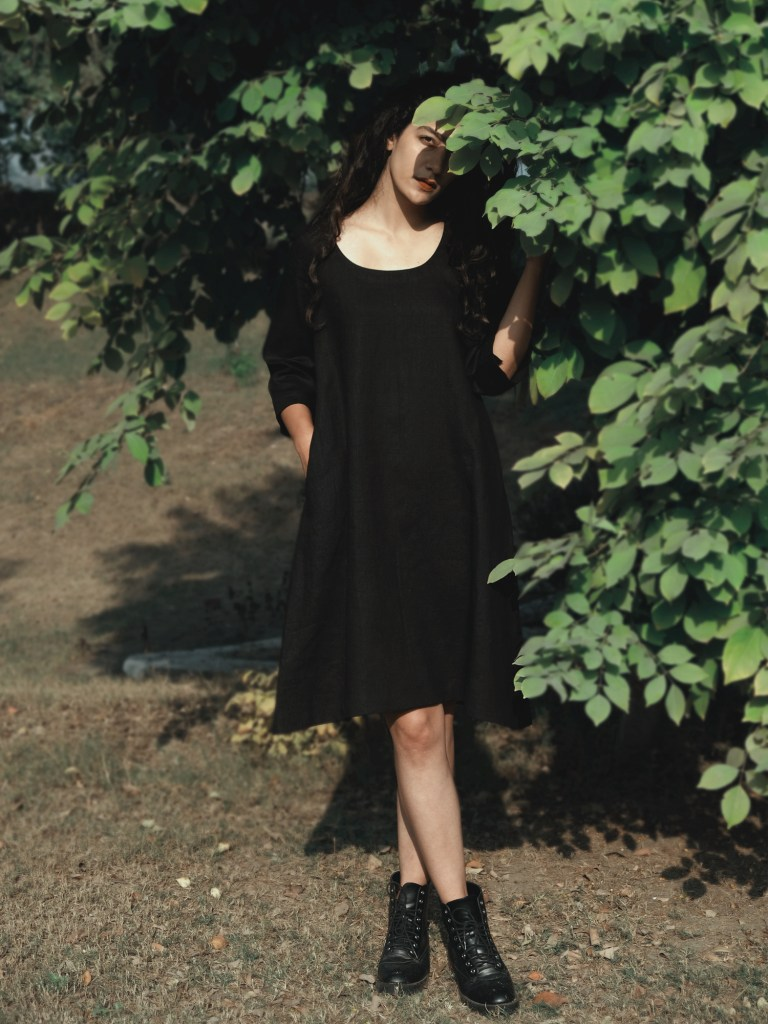 Black Short Shift Linen Dress