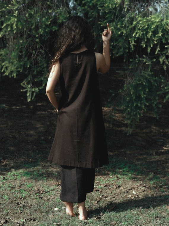 Black Sleeveless Dress With Kantha Detail