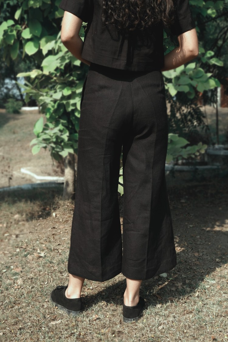 Black Linen Flared Pants