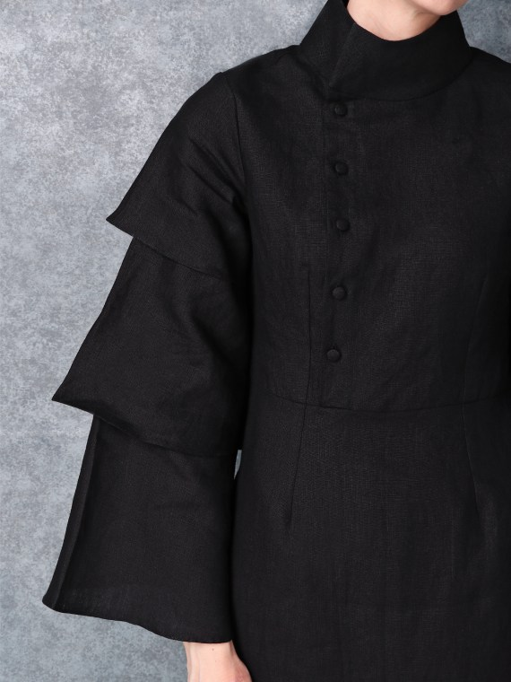 Linen High Neck Black Dress