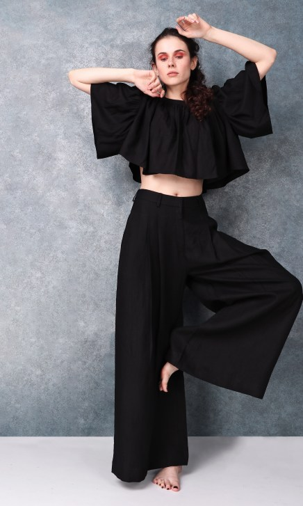 Black High Waisted Pleated Full Length Pants