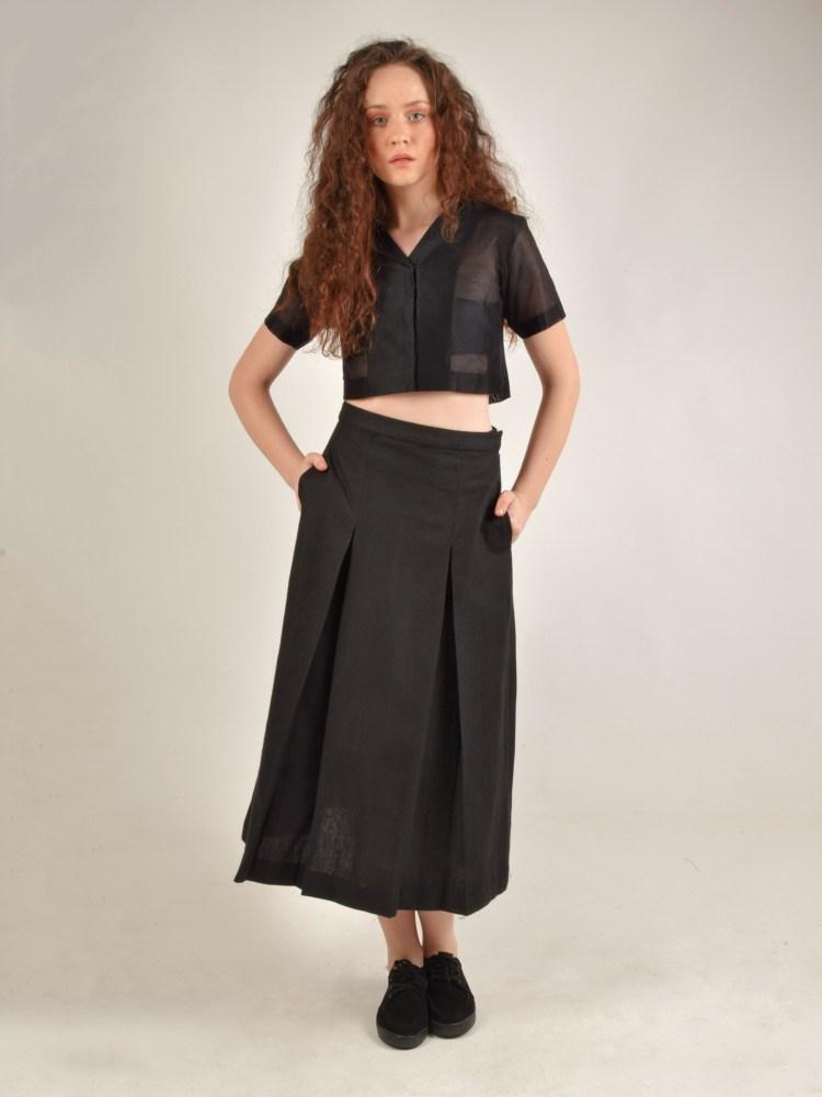 Calf Length Box Pleated Black Linen Skirt