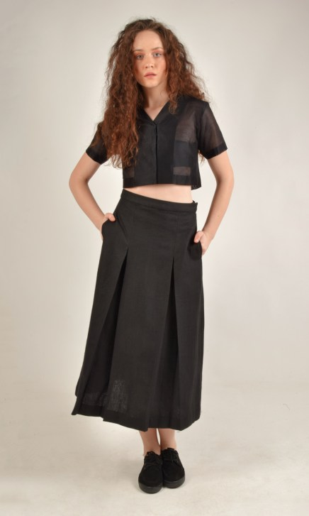 Calf Length Box Pleated Black Linen Skirt
