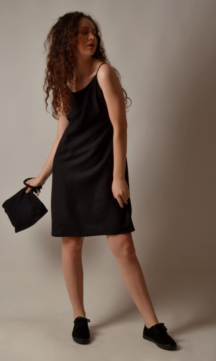 Linen Pocket Short Black String Dress