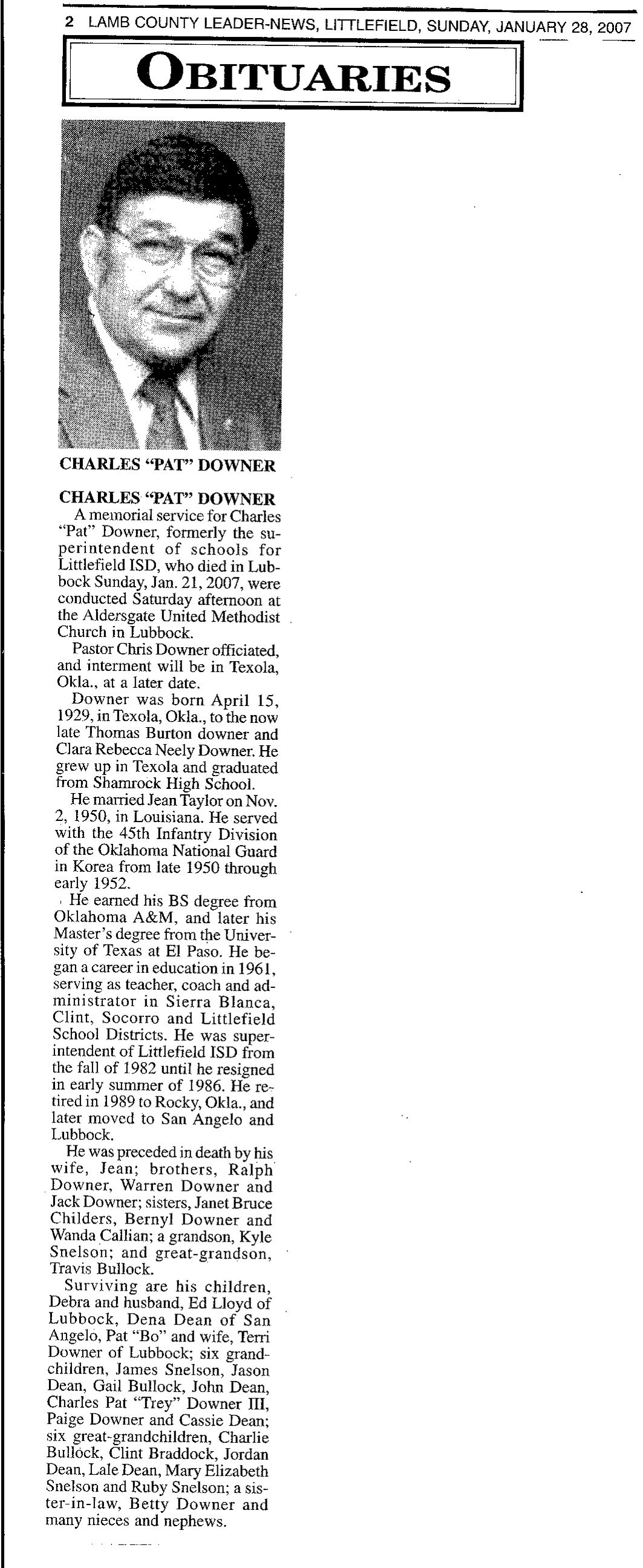 Charles Pat Downer Obituary