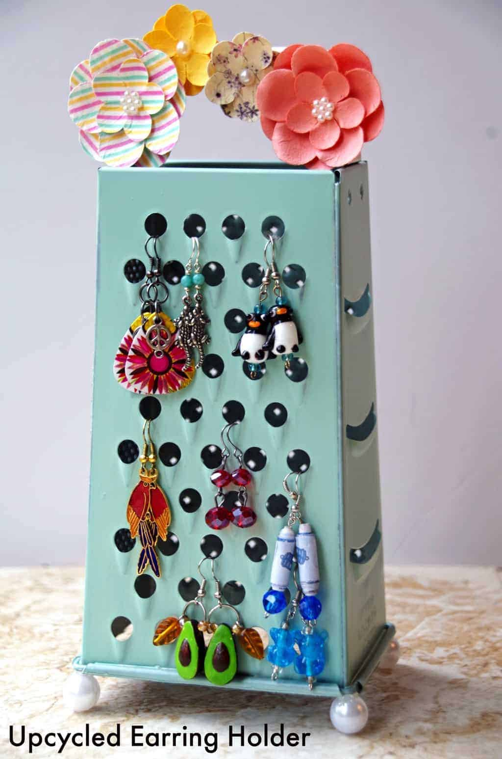 Homemade Earring Holder From An Upcycled Cheese Grater