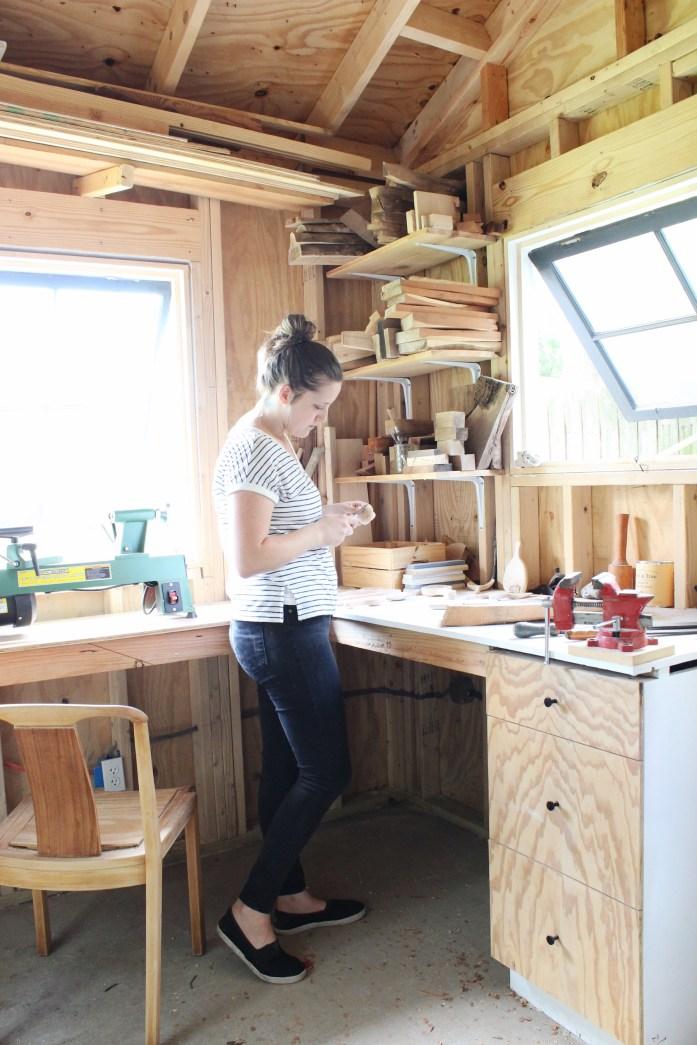backyard shed wood carving workshop
