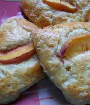 Buttermilk Peach Scones with White Chocolate Chip Glaze