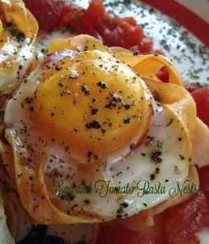 Egg and Tomato Pasta Nests