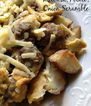 Kielbasa, Potato and Onion Scramble