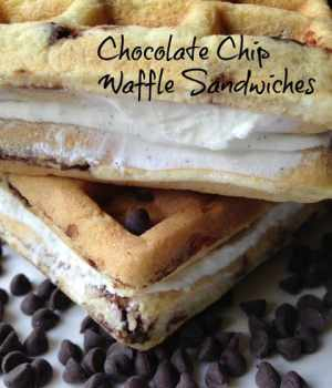 Chocolate Chip Waffle Ice Cream Sandwiches #SundaySupper