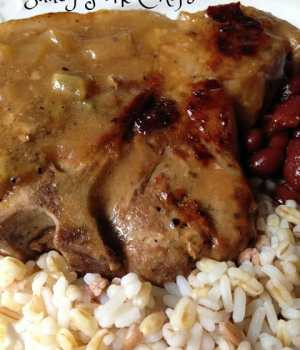 Saucy Pork Chops with Five Grain Blend