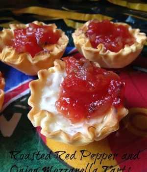 Roasted Red Pepper and Onion Mozzarella Mini Tarts