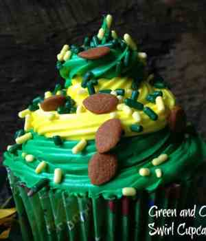Green Bay Packer Swirl Cupcakes