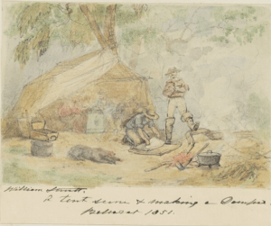 watercolour painting of men between a tent and a fire with a camp oven for making damper