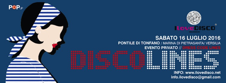 DISCO Lines è un evento I Love DISCO, community fiorentina, organizzata sul Pontile di Marina di Pietrasanta il 16/07/16 in occasione di Versilia tra le righe.