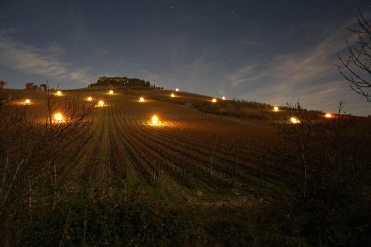 Luci in Vigna è un'installazione che omaggia il connubio tra uomo e natura illuminando le vigne di Villa Cerna nel Chianti Classico con luci di Natale.
