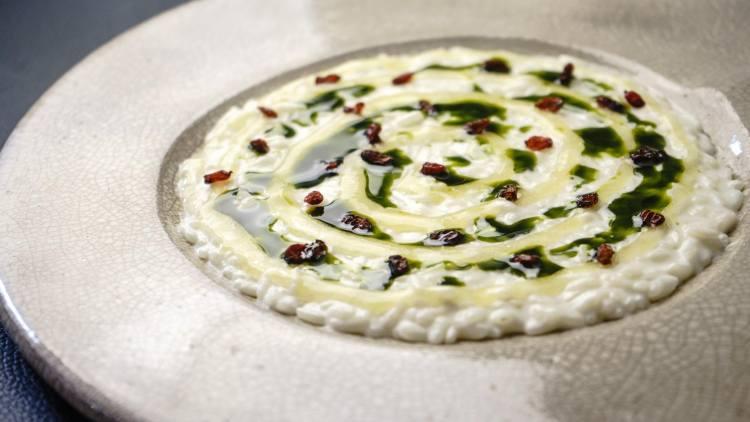 Risotto Acquerello, piatto dello chef Edoardo Tilli del Podere Belvedere - Pontassieve (Fi)