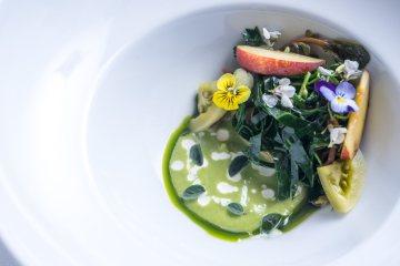Universo vegetale, piatto dello chef Edoardo Tilli del Podere Belvedere