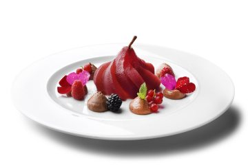 Il dessert alla pera del ristorante Perrucà