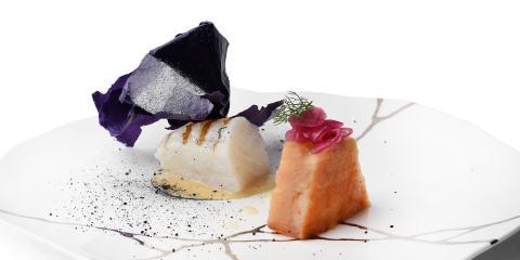 Piatto dello chef Fabrizio Girasoli, proprietario del ristorante Butterfly, 1 stella Michelin.