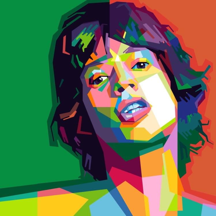Ritratto di Mick Jagger in stile pop art