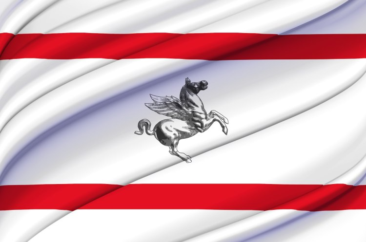 La bandiera della Toscana con Pegaso al centro