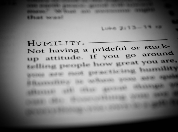 La definizione di umiltà in un vocabolario inglese