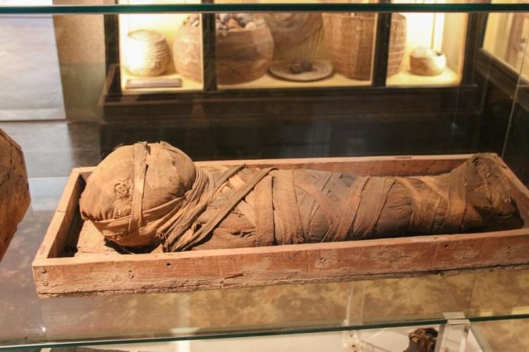 Mummia di bambino al Museo Archeologico di Firenze, nelle sale dedicate agli Egizi