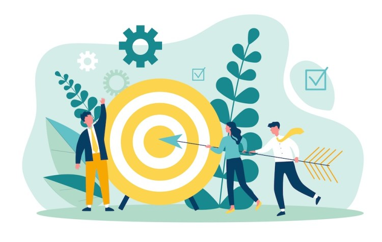 Illustrazione di raggiungimento di obiettivo aziendale