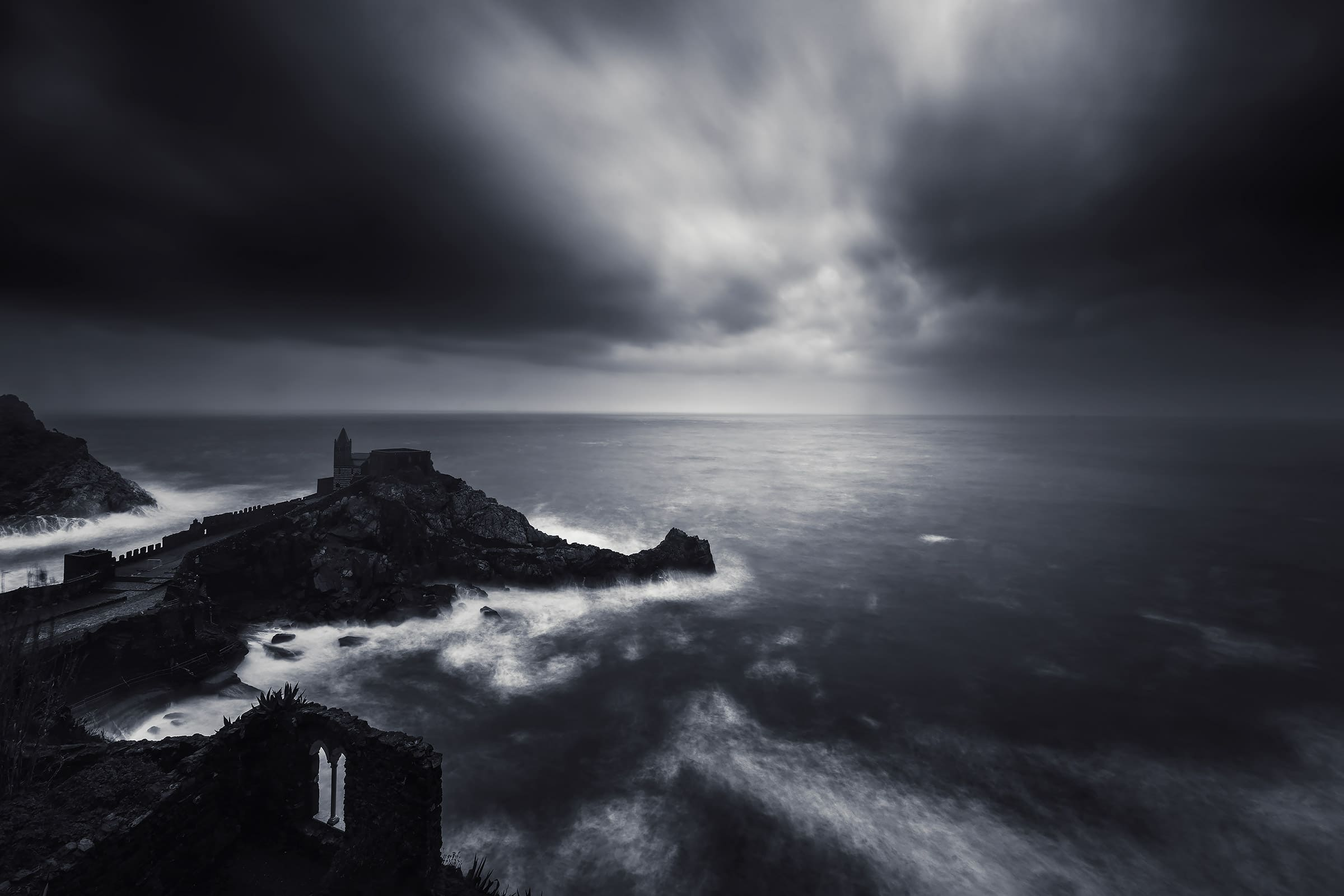 portovenere during a stormy day landscape pictures