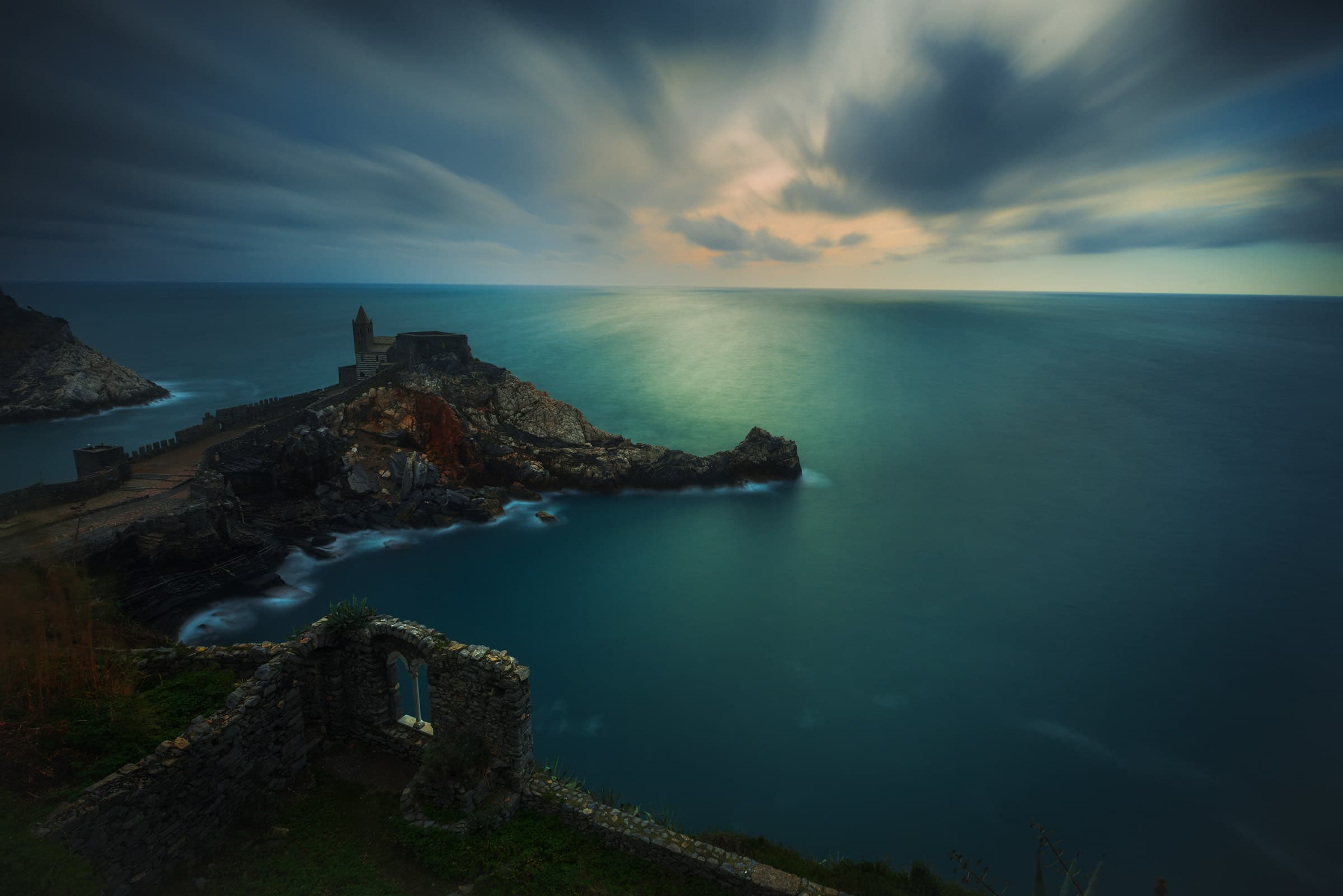 Portovenere in Italy during a cloudy day