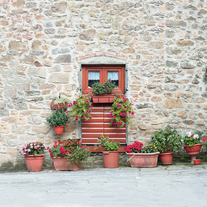 Image wrap: Medicina Village with flower pots