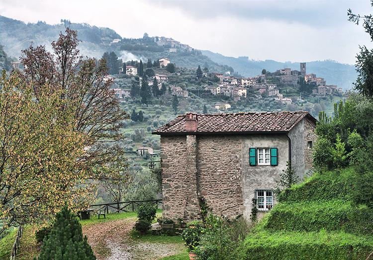 Old stone house village backdrop