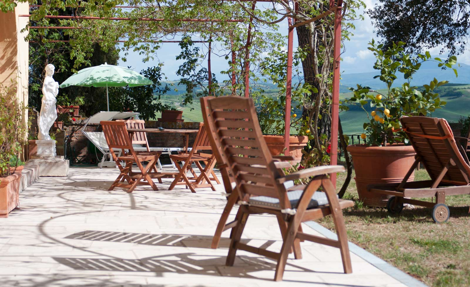deckchairs in Tuscany Accommodation
