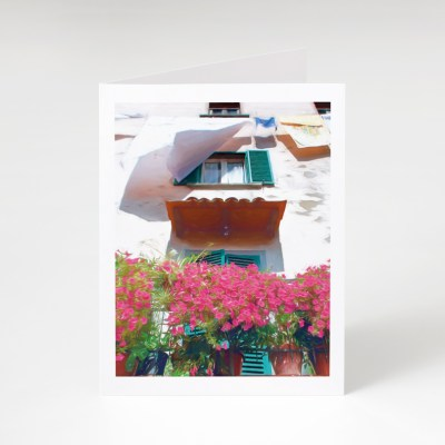 Balcony Flowers and Laundry Greeting Card