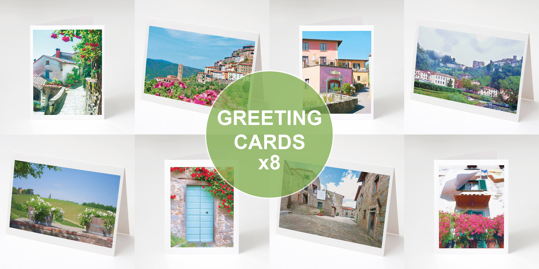 Pack of Cards 8 Greeting Cards, Tusccany, Italy