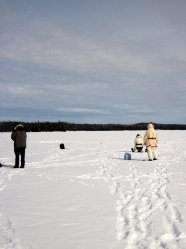 Ice fishing on Tuscarora Lake in the Boundary Waters Canoe Area Wilderness