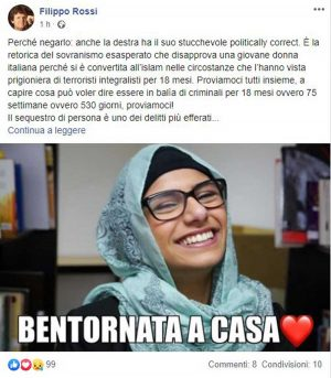 Filippo Rossi comments on the release of Silvia Romano with a photo by Mia Khalifa