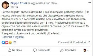 Filippo Rossi comments on the release of Silvia Romano - The post after the deletion of the photo of Mia Khalifa
