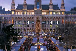 Christkindlmarkt, en la Rathausplatz de Viena