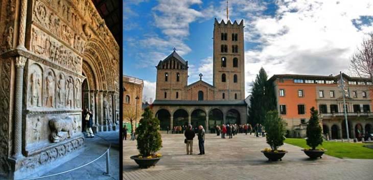 Izquierda, pórtico románico del Monasterio de Ripoll. Derecha, fachada del monasterio.