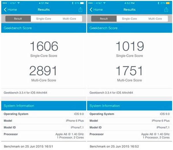 iOS 9(nueve) benchmark batería