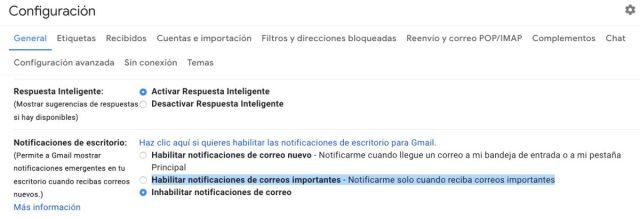 Notificaciones importantes de Gmail