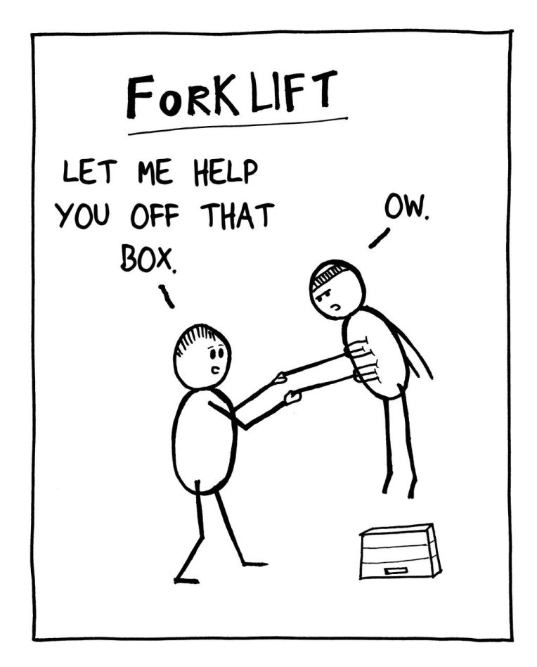 Tut and Groan Fork Lift Guest Toon by Badly Doodled cartoon