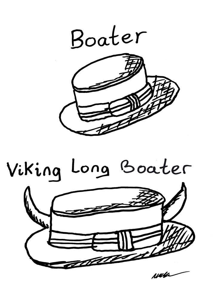 Tut and Groan Guest Toon Boater - Viking Long Boater by Mark Granger cartoon