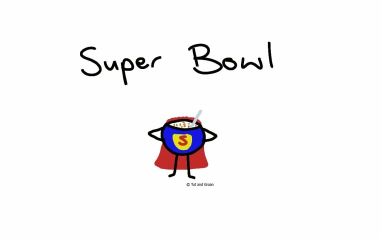 Tut and Groan Super Bowl cartoon