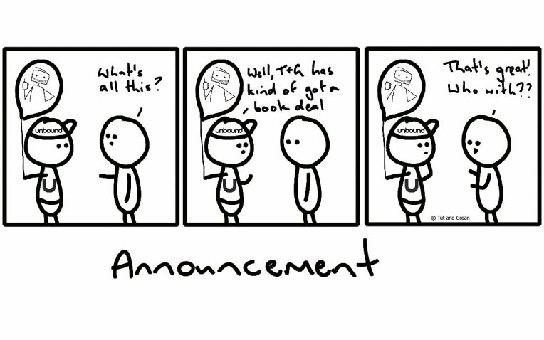Tut and Groan Three Panels: Announcement cartoon