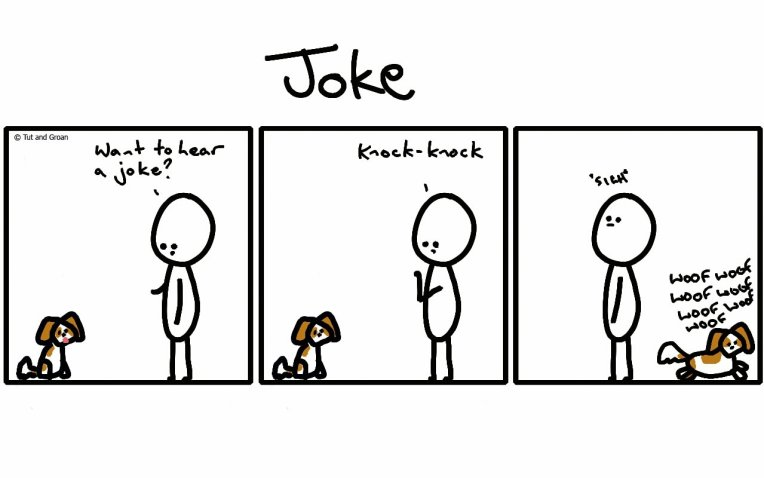 Tut and Groan Three Panels: Joke cartoon
