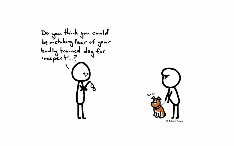 Tut and Groan Badly Trained Dog cartoon